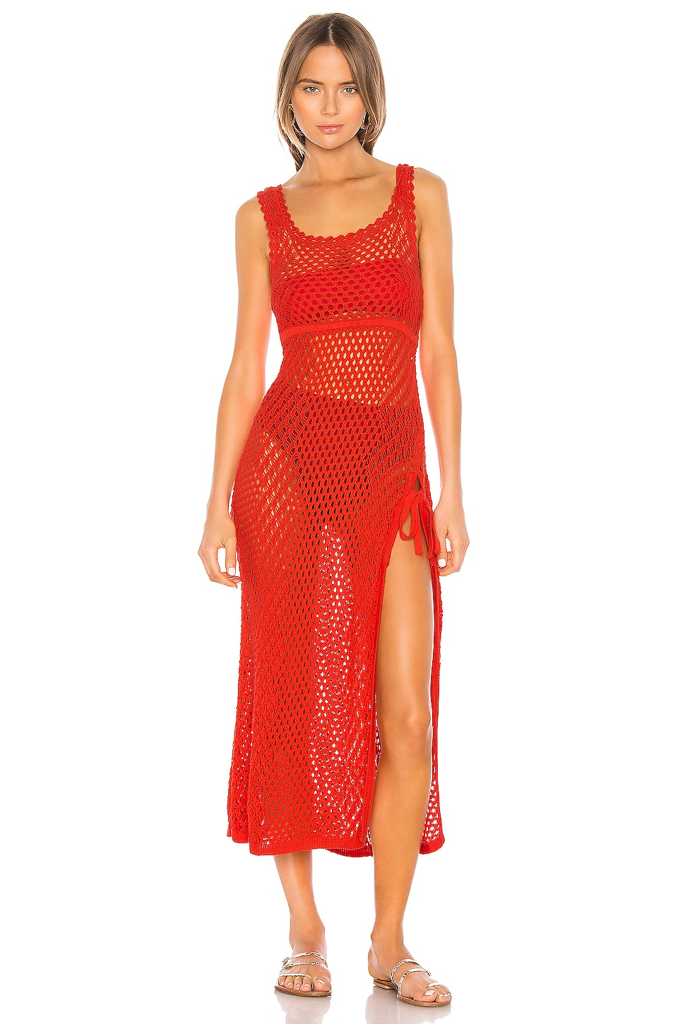 Camila Coelho Athena Crochet Dress in Coral Red
