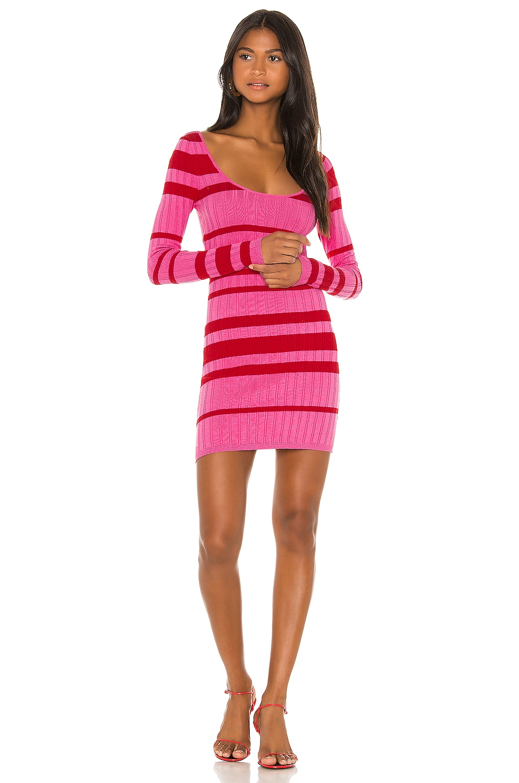 Camila Coelho Roxanne Sweater Dress in Pink & Red Stripe