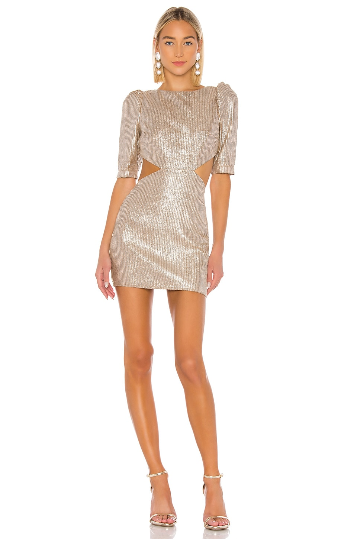 Camila Coelho Bailey Mini Dress in Metallic Nude