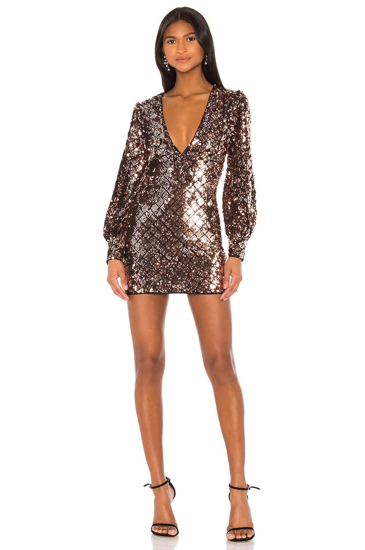 Camila Coelho Daphne Mini Dress in Metallic Mauve