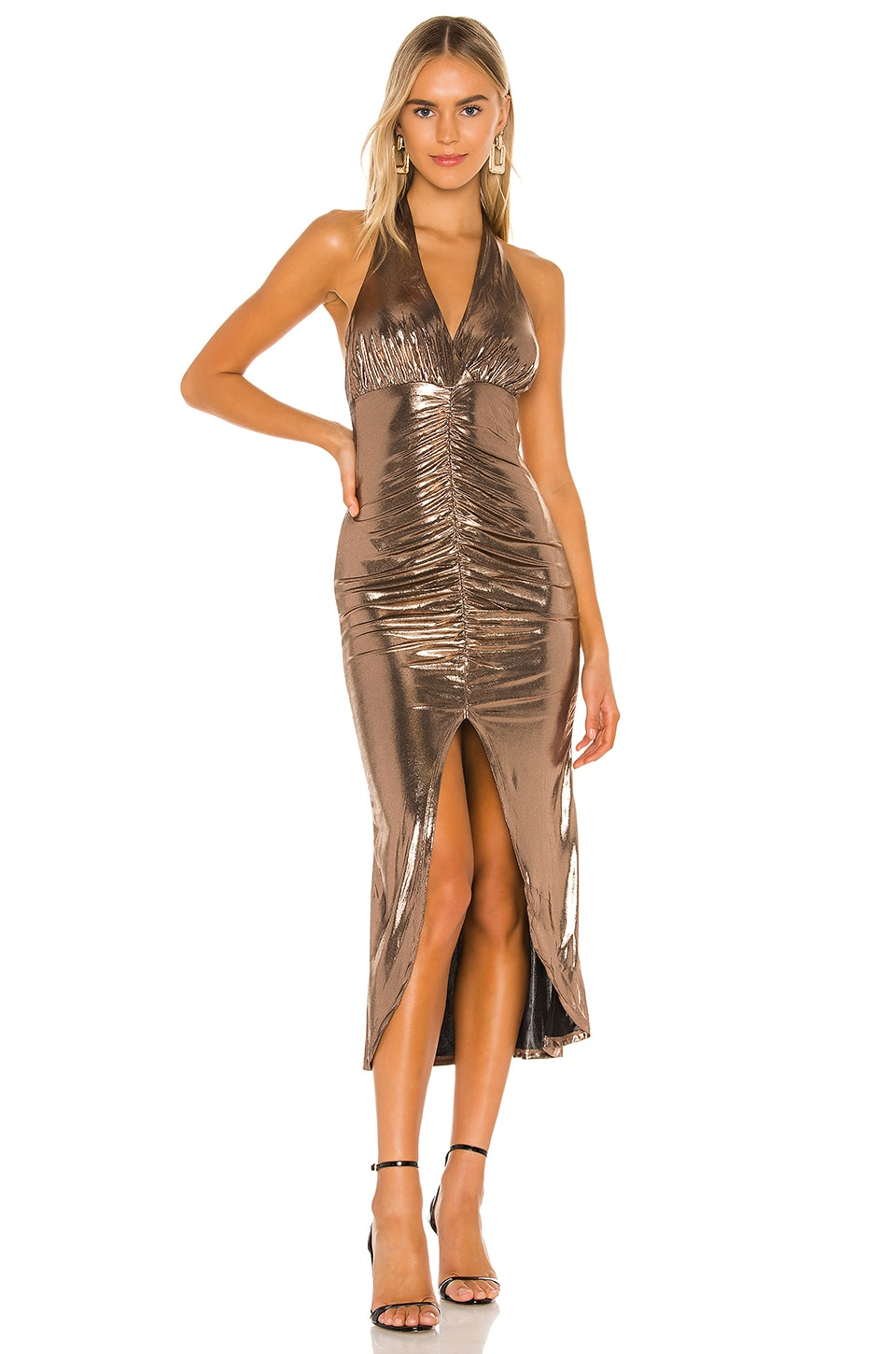 Camila Coelho Melany Halter Midi Dress in Bronze Lame