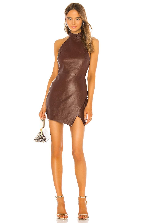 Camila Coelho Mia Leather Mini Dress in Dark Brown