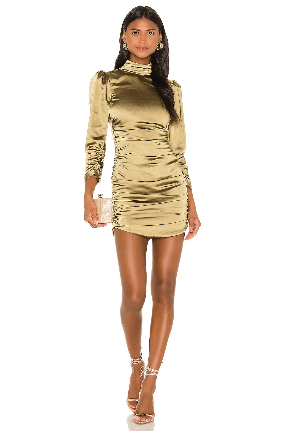 Camila Coelho Viviane Mini Dress in Olive Green