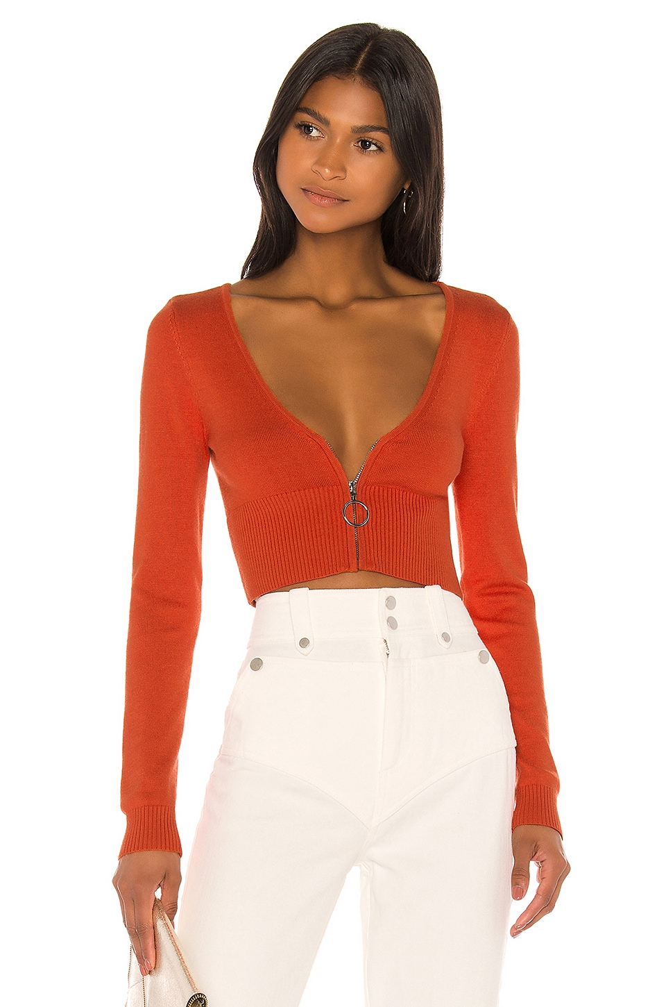 Camila Coelho Caryn Zip Up Sweater in Apricot
