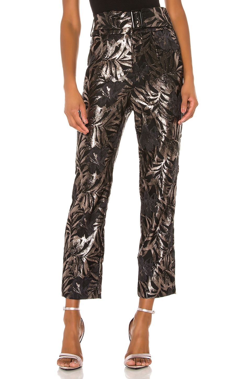 Camila Coelho Aida Trousers in Black and Silver