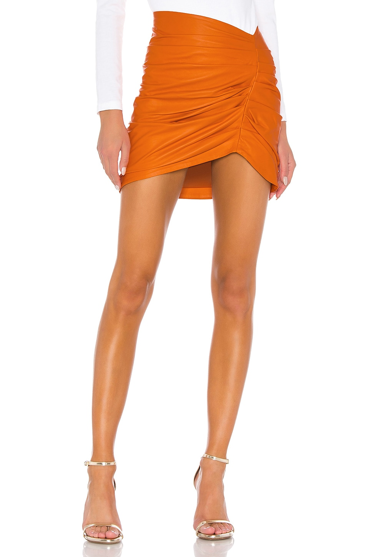 Camila Coelho Clementine Leather Skirt in Orange