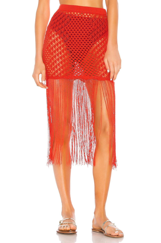 Camila Coelho Ipanema Crochet Skirt in Coral Red