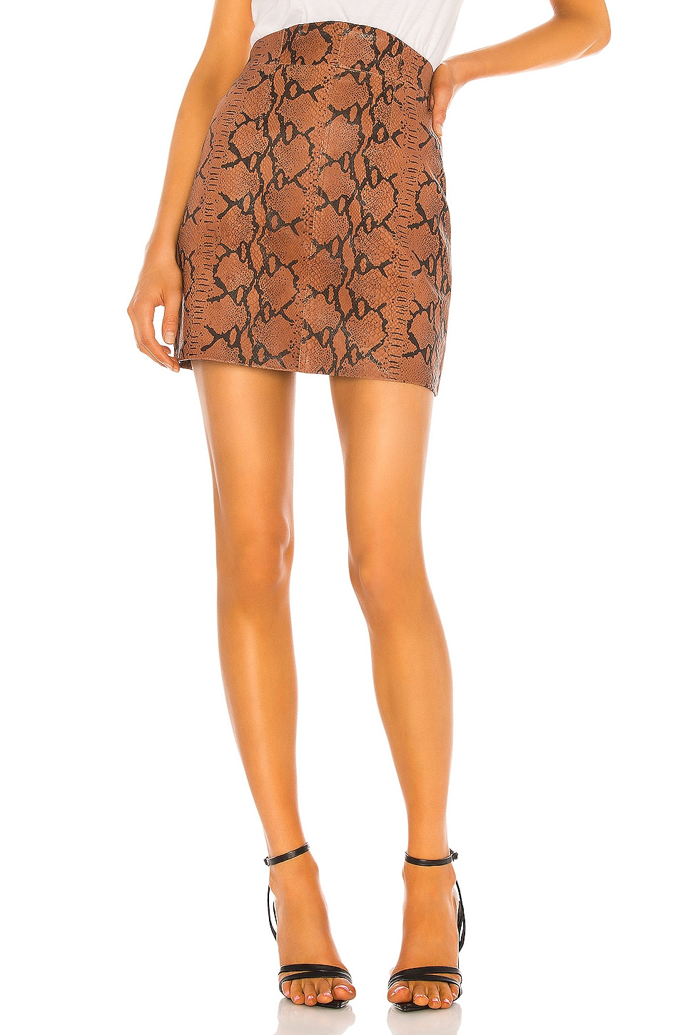 Camila Coelho Luana Leather Mini Skirt in Brown Snake
