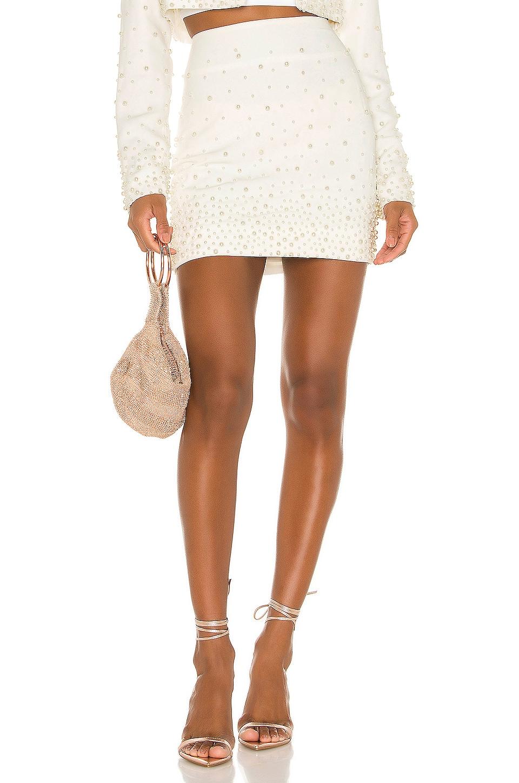 Camila Coelho Amora Mini Skirt in Ivory Pearl