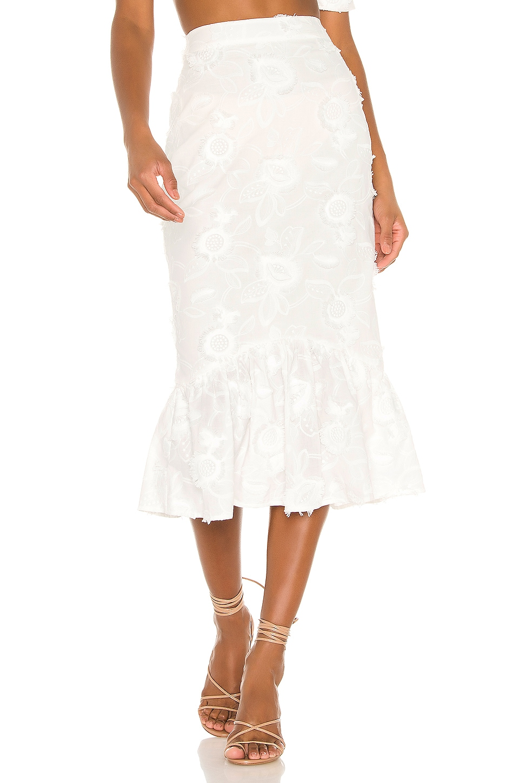 Camila Coelho Marcella Midi Skirt in White