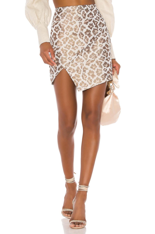 Camila Coelho Regina Skirt in Gold Leopard