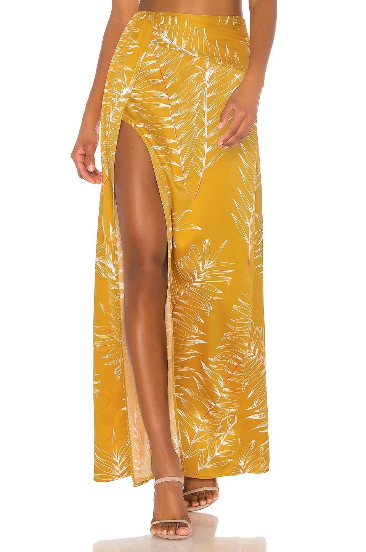 Camila Coelho Aline Maxi Skirt in Gold Tropical