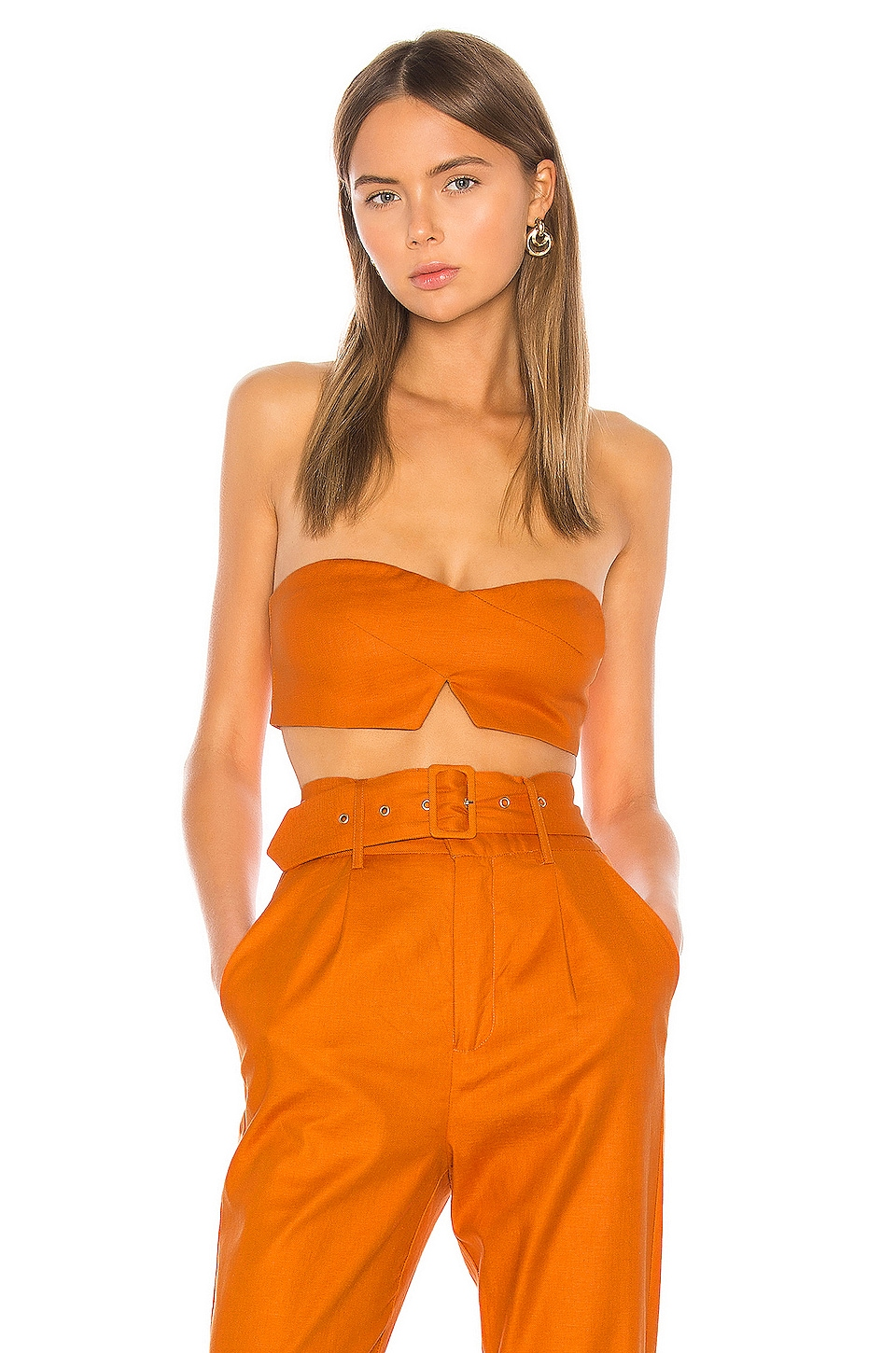 Camila Coelho Josephina Crop Top in Desert Orange