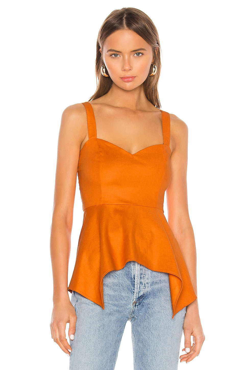 Camila Coelho Rosalie Top en Desert Orange