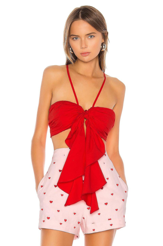 Camila Coelho Madelyn Crop Top in Red Scarlet