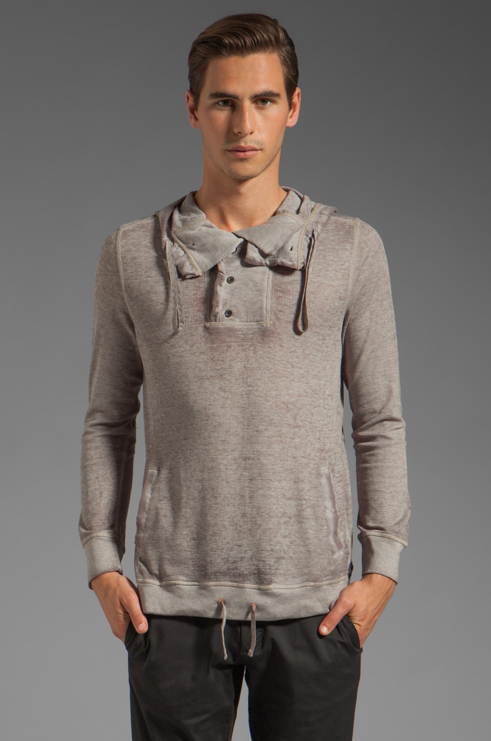 Cohesive & co. Skalden Burnout Thermal Hoodie in Taupe