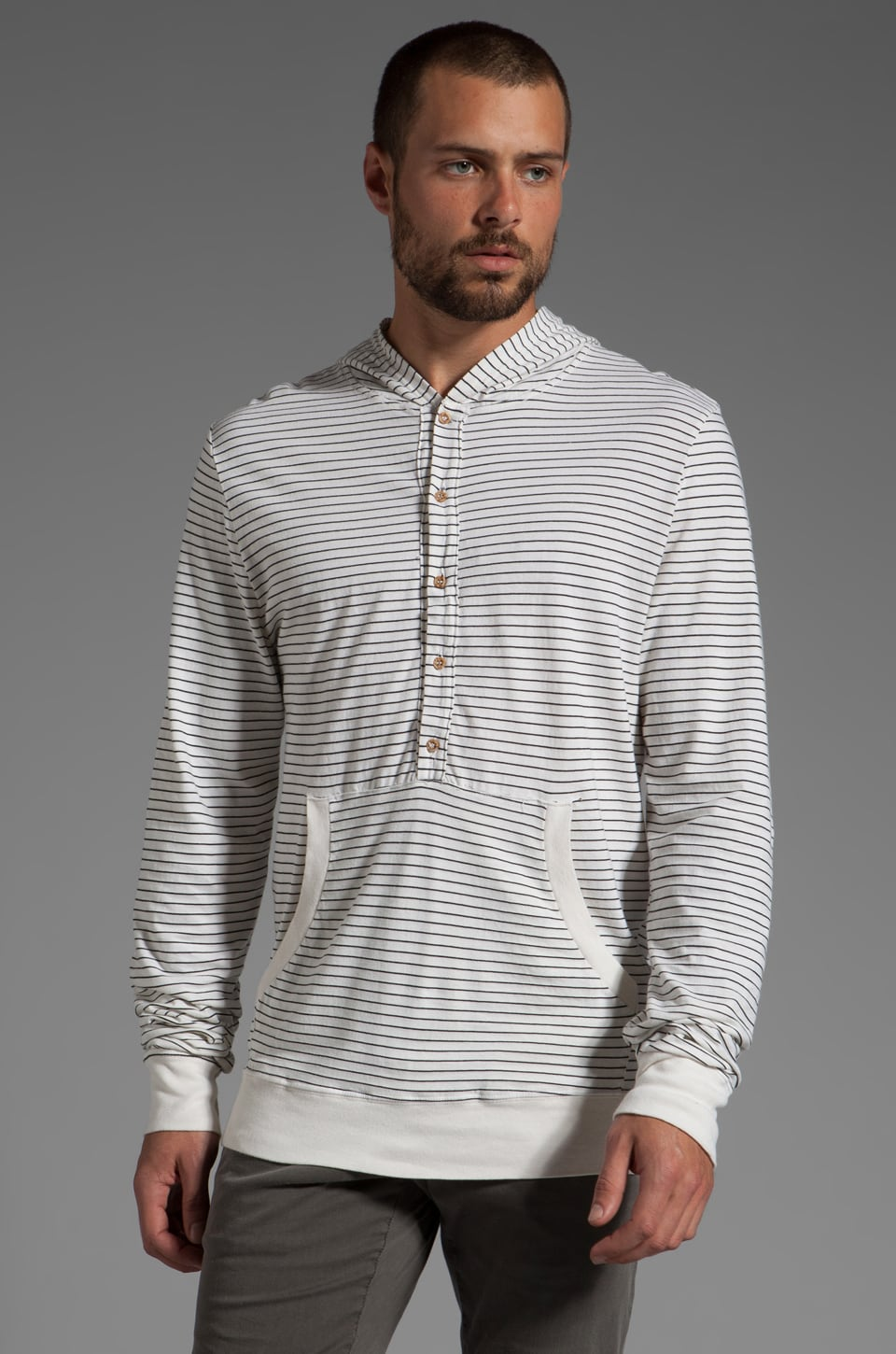 Cohesive & co. Herbert Printed Striped Hoodie in White