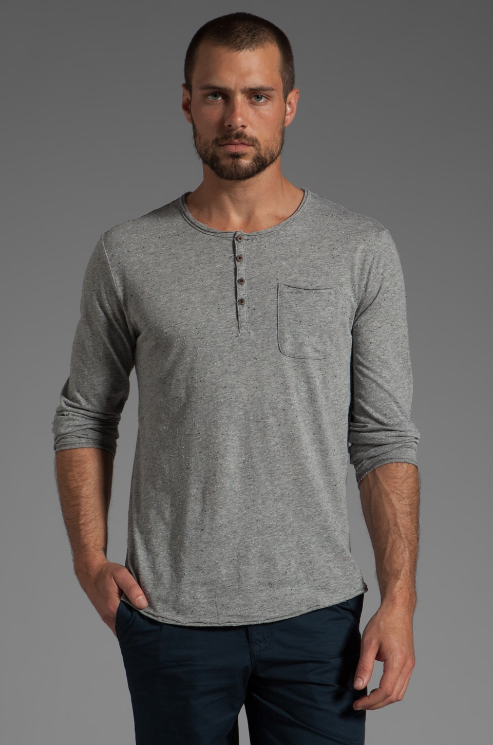 Cohesive & co. Spence L/S Henley in in Grey