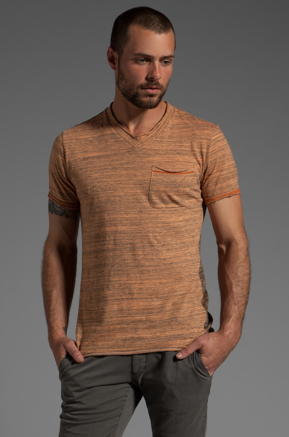 Cohesive & co. Reverse Detail Stripe S/S V-Neck Tee in Cantaloupe