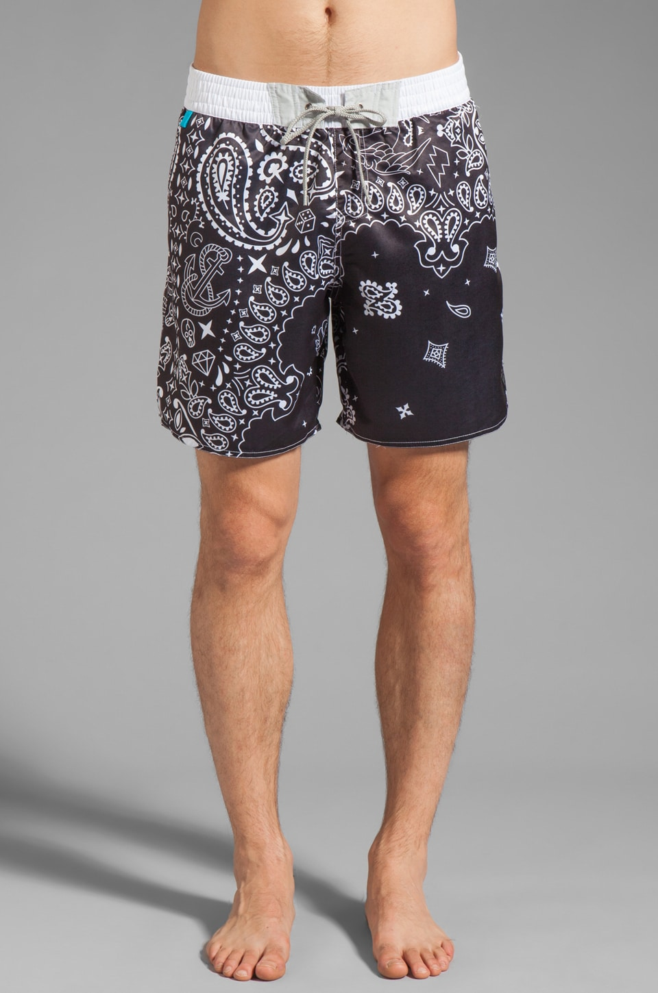 Cohesive & co. Bermuda Paisley Boardshort in Black