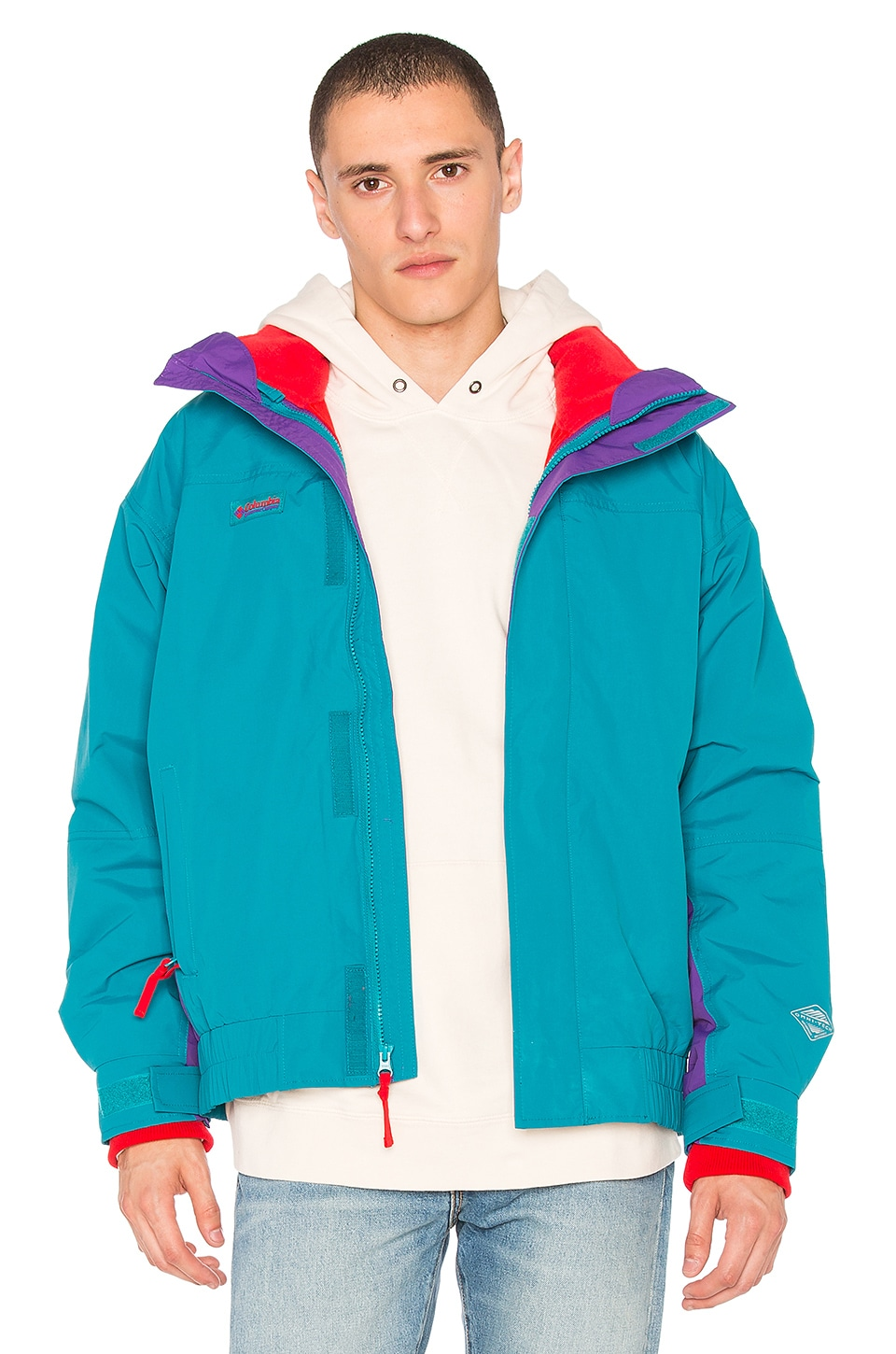 Columbia PNW Bugaboo 1986 Interchange Jacket in Sea Level & Royal Purple & Bright Red
