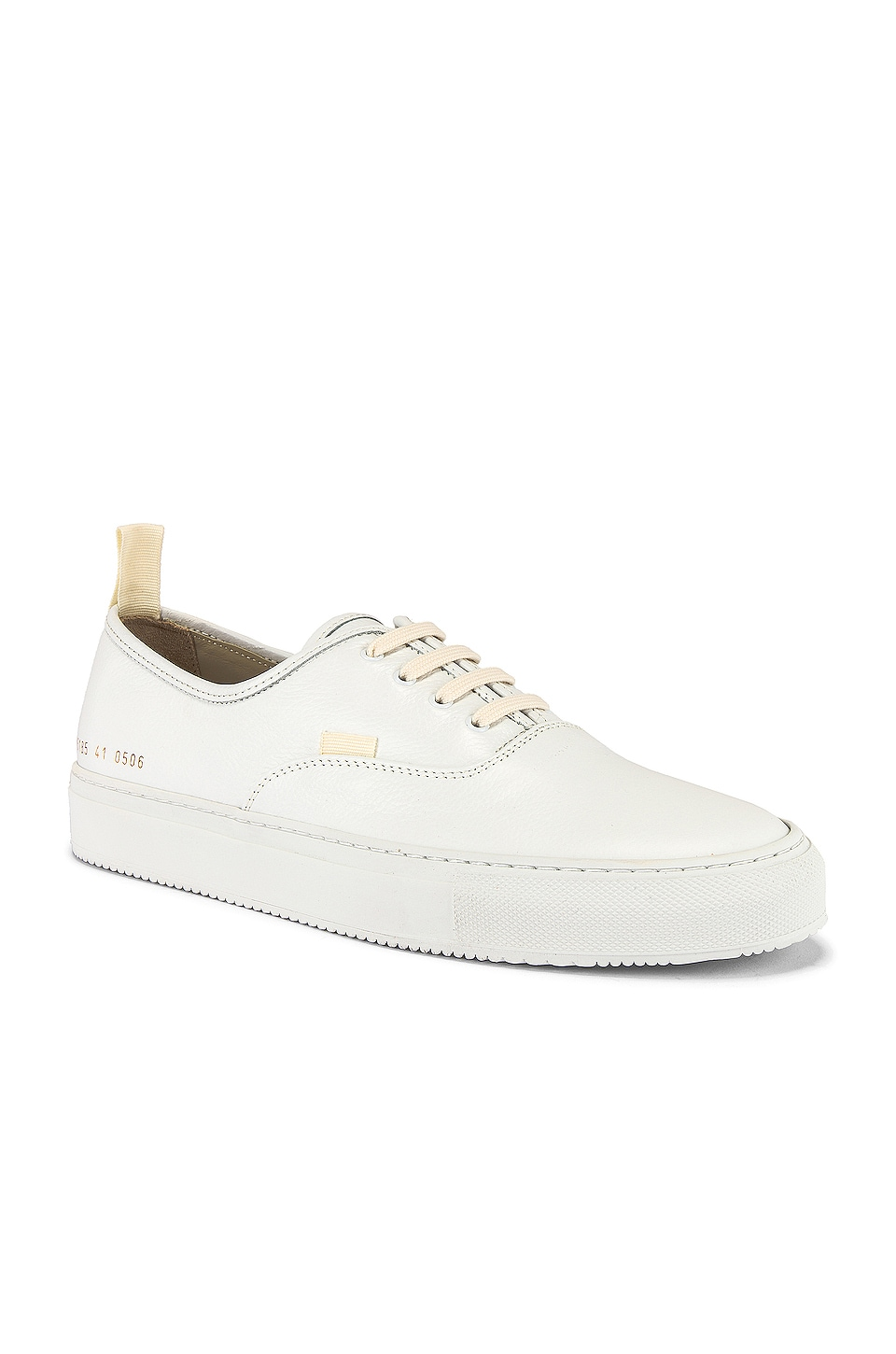 Common Projects Four Hole in Leather Low Sneaker in White