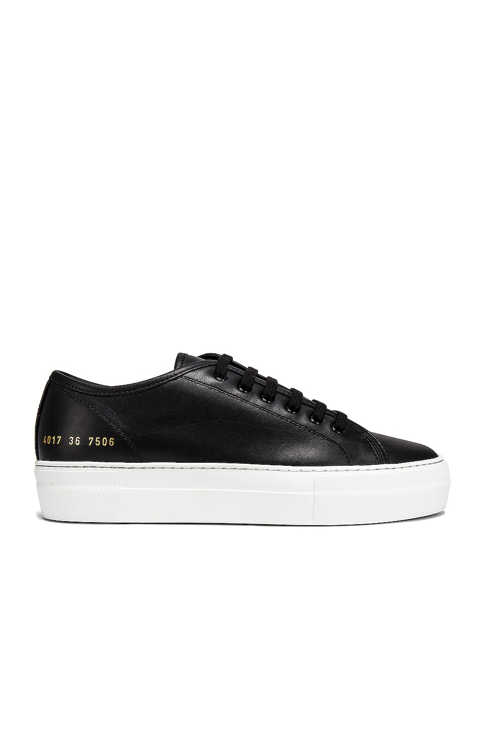 Common Projects Tournament Low Platform Super Sneaker in Black & White