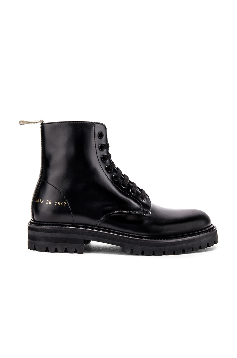 Common Projects Standard Lug Sole Combat Boot in Black