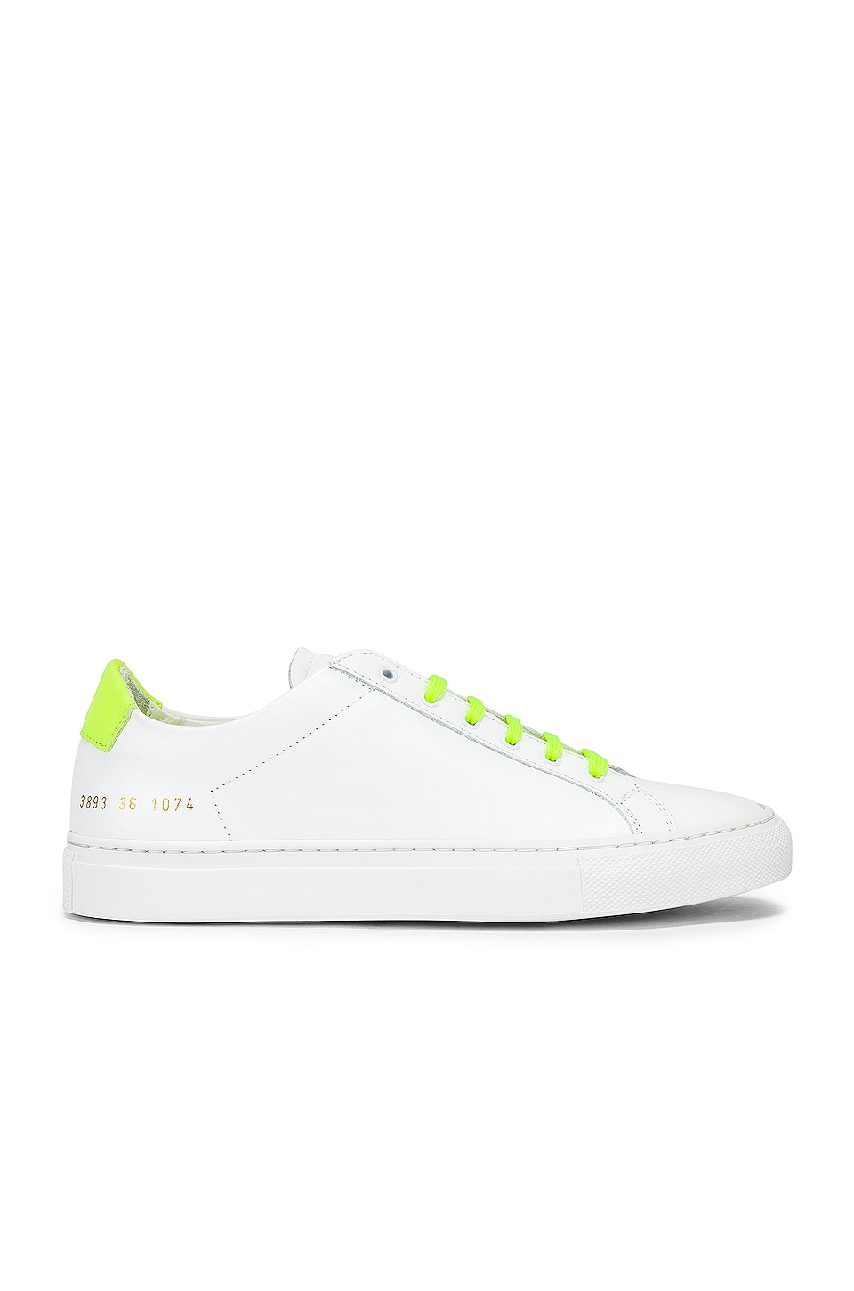Common Projects Retro Low Fluo Sneaker in White & Yellow