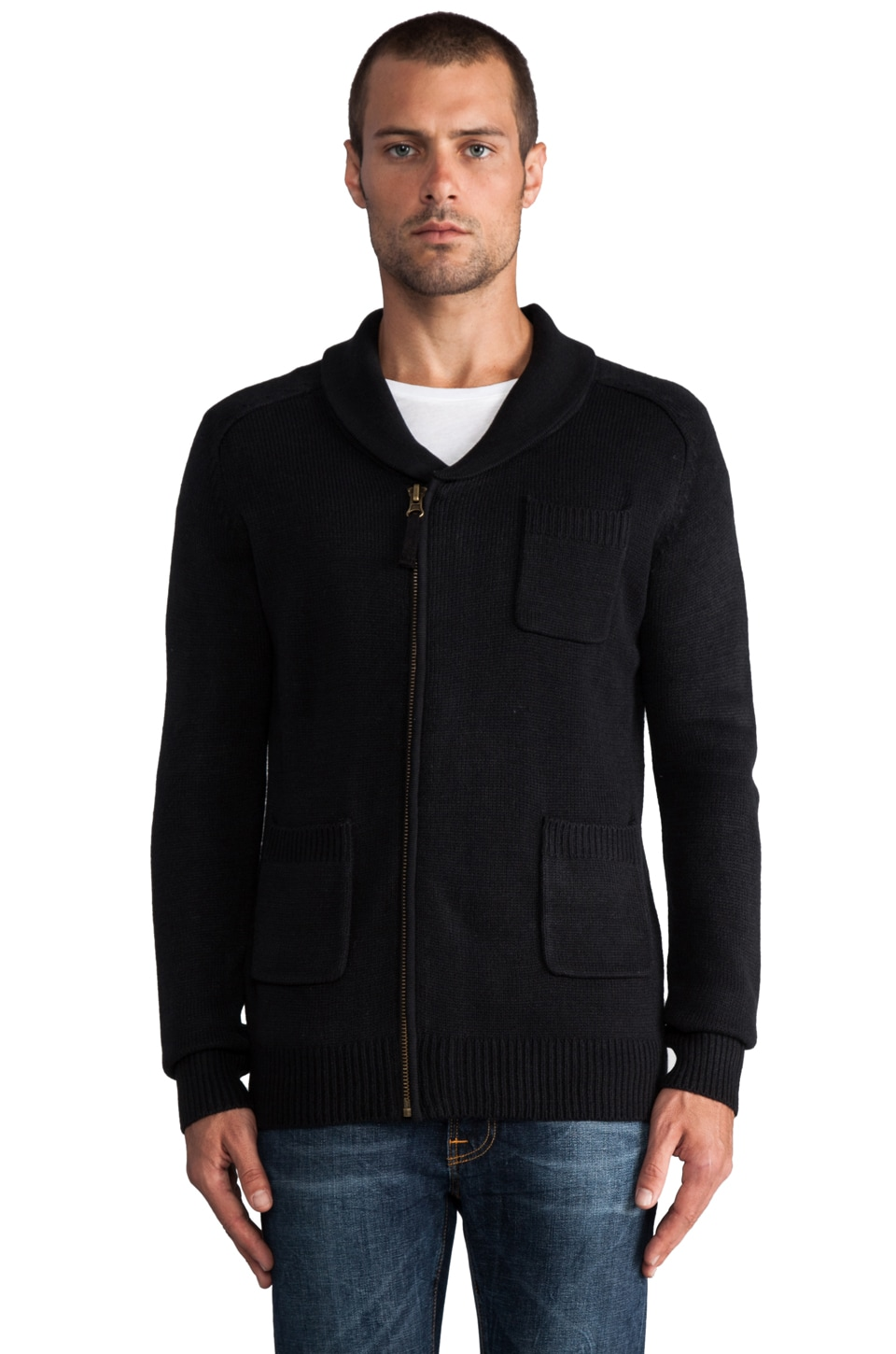 COMUNE Monte Sweater Coat with Zipper in Black