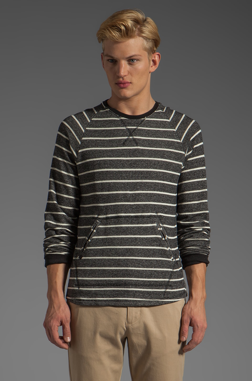 COMUNE Fields Fleece in Charcoal Stripe