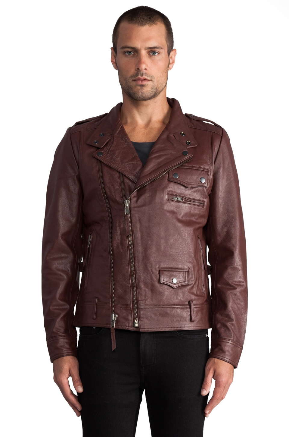 COMUNE Mitchell Leather Jacket en Oxblood