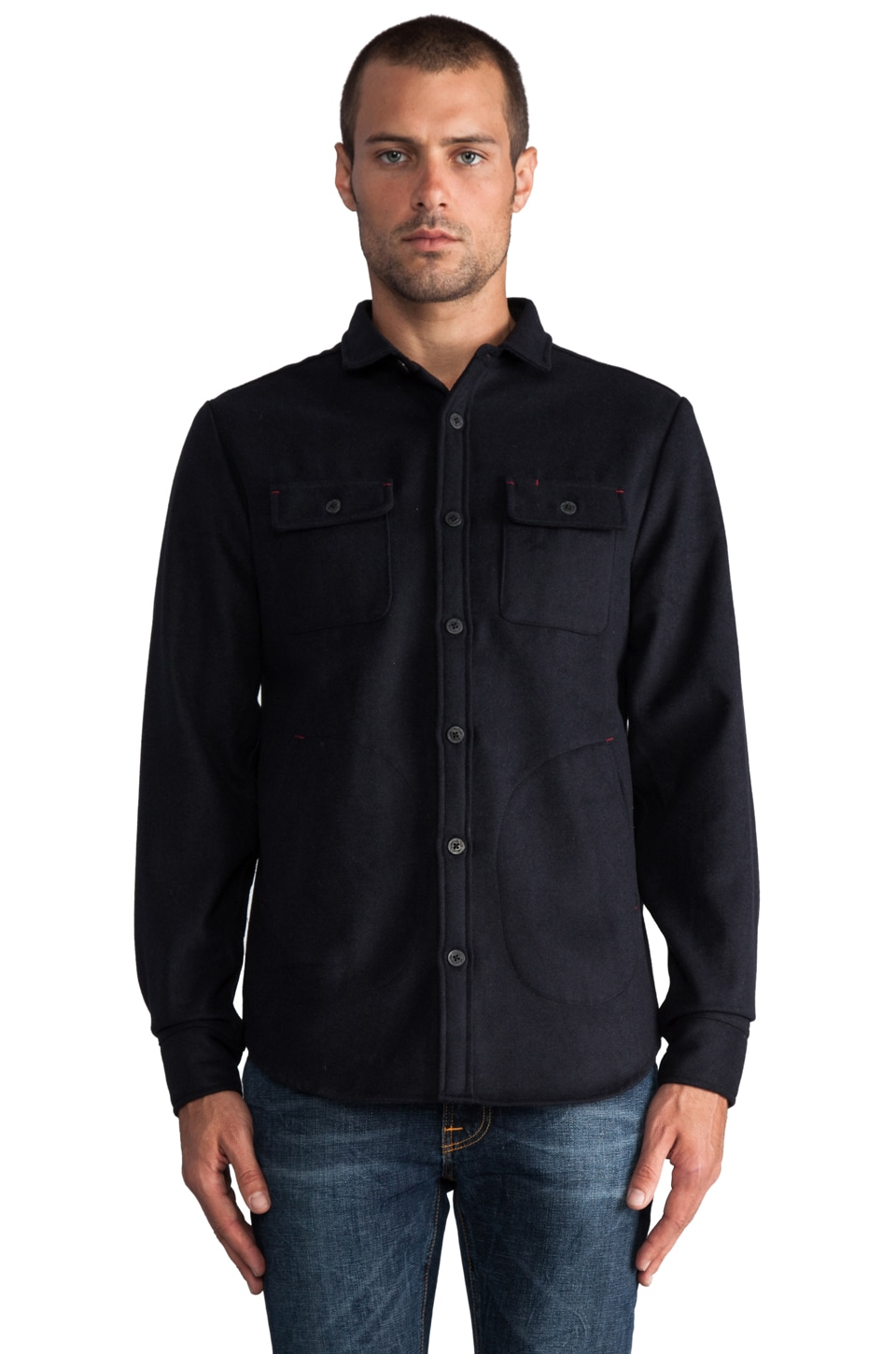 COMUNE Claude L/S Button Down Shirt Jacket in Dark Navy
