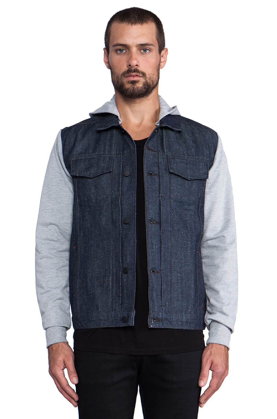 COMUNE Jay Heather Grey Hoodie Denim Jacket in Indigo
