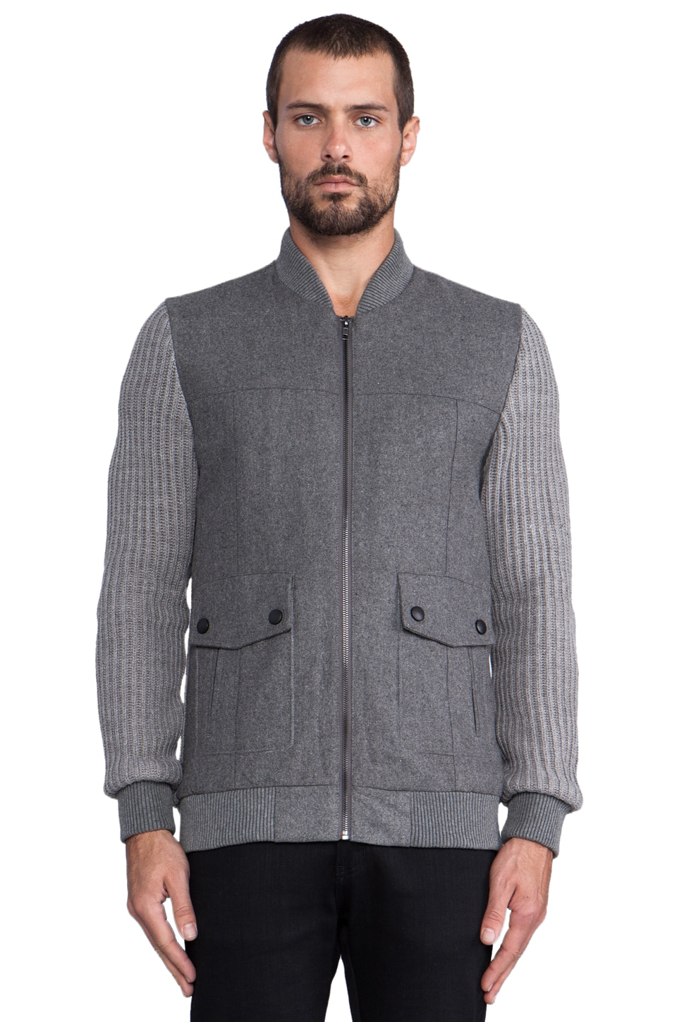 COMUNE Goodwin Bomber Jacket with Knit Sleeves in Charcoal