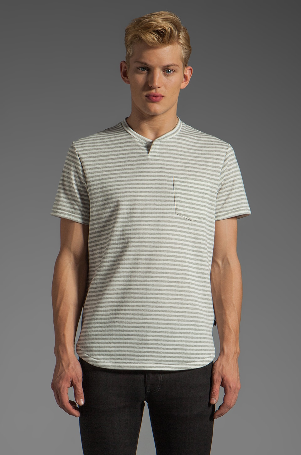 COMUNE Dorsey Tee in Grey Stripe