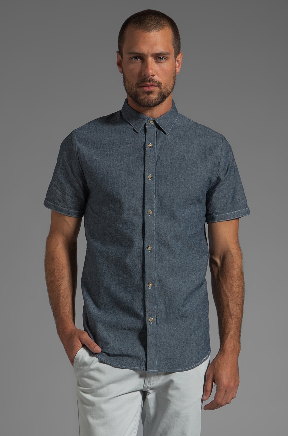 COMUNE Write S/S Shirt in Navy
