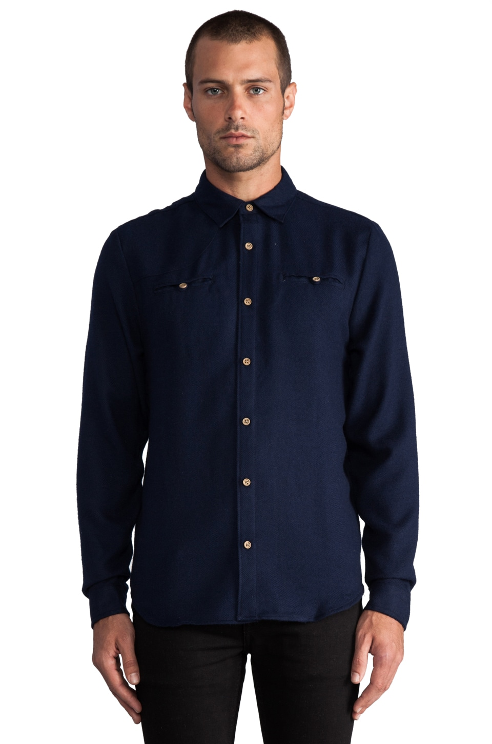 COMUNE Harper L/S Button Down Flannel in Navy