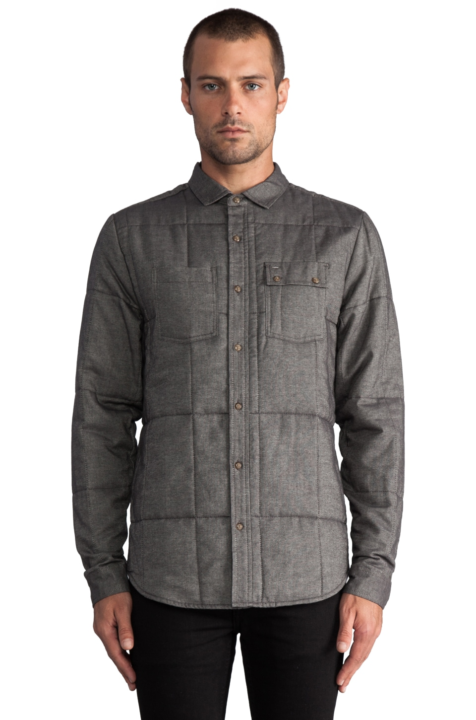 COMUNE Arnold Quilted L/S Button Down Shirt Jacket in Charcoal