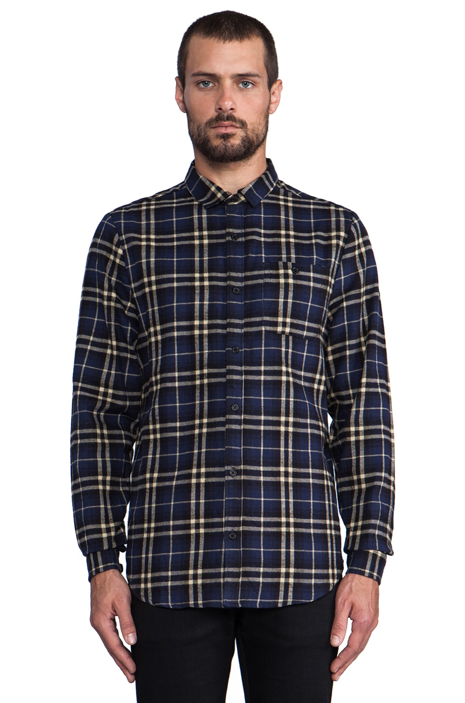 COMUNE Barnes L/S Plaid Button Down in Navy