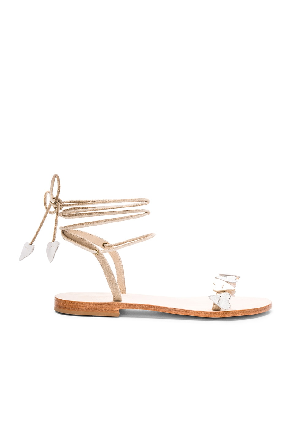 CoRNETTI Scoglio Sandal in Beige Suede with Silver Gold & White Hearts