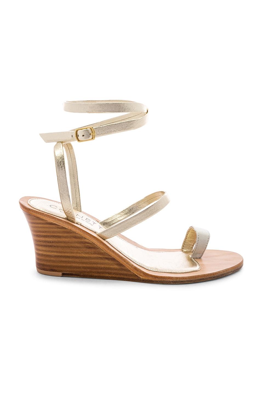 CoRNETTI Riaci Wedge Sandal in White Suede & Platino Calfskin