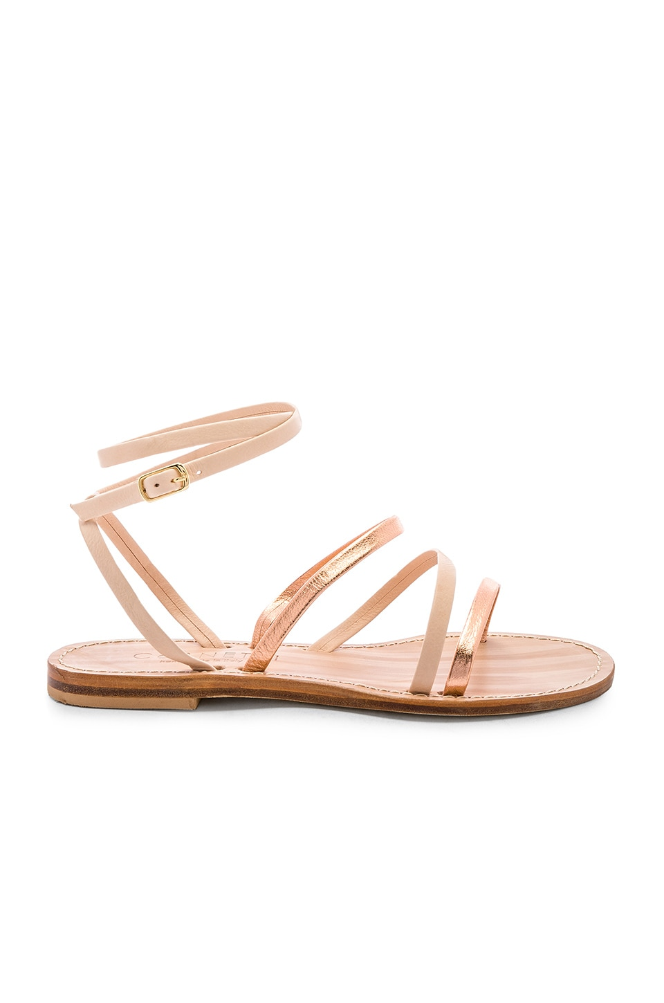 CoRNETTI Lipari Sandal in Rose Gold & Natural Calfskin