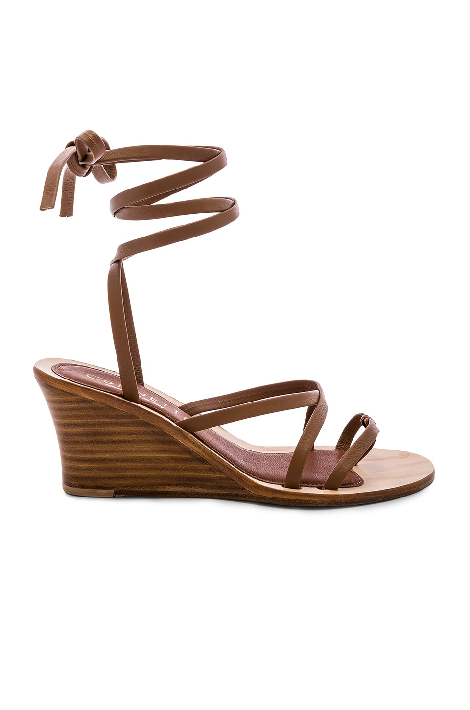 CoRNETTI Caminia Wedge Sandal in Brown Calfskin