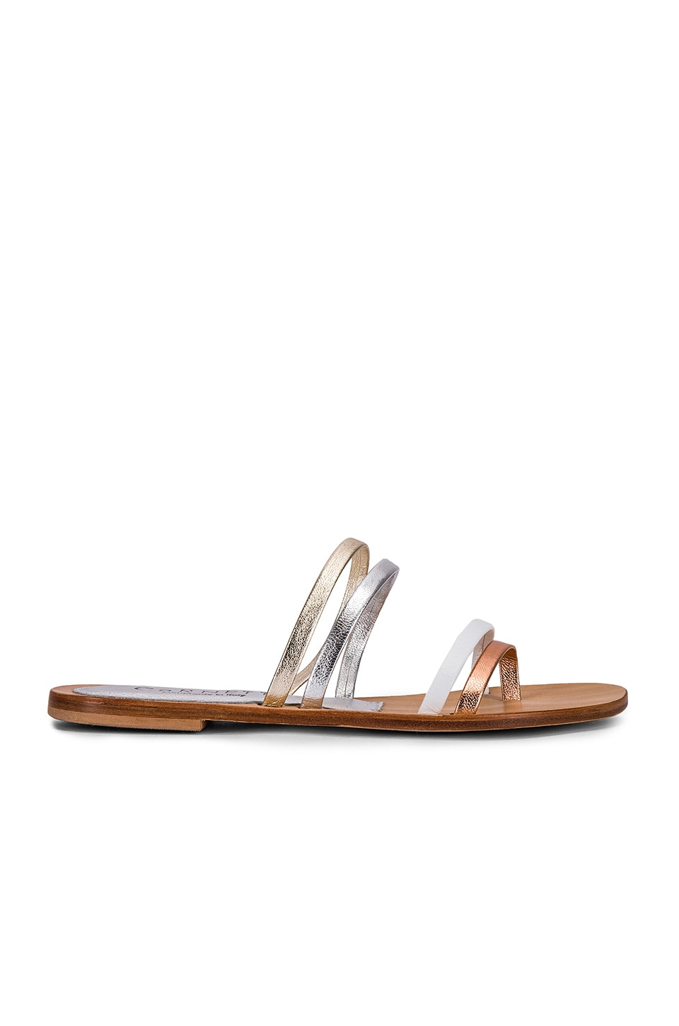 CoRNETTI Zannone Sandal in White & Metallic
