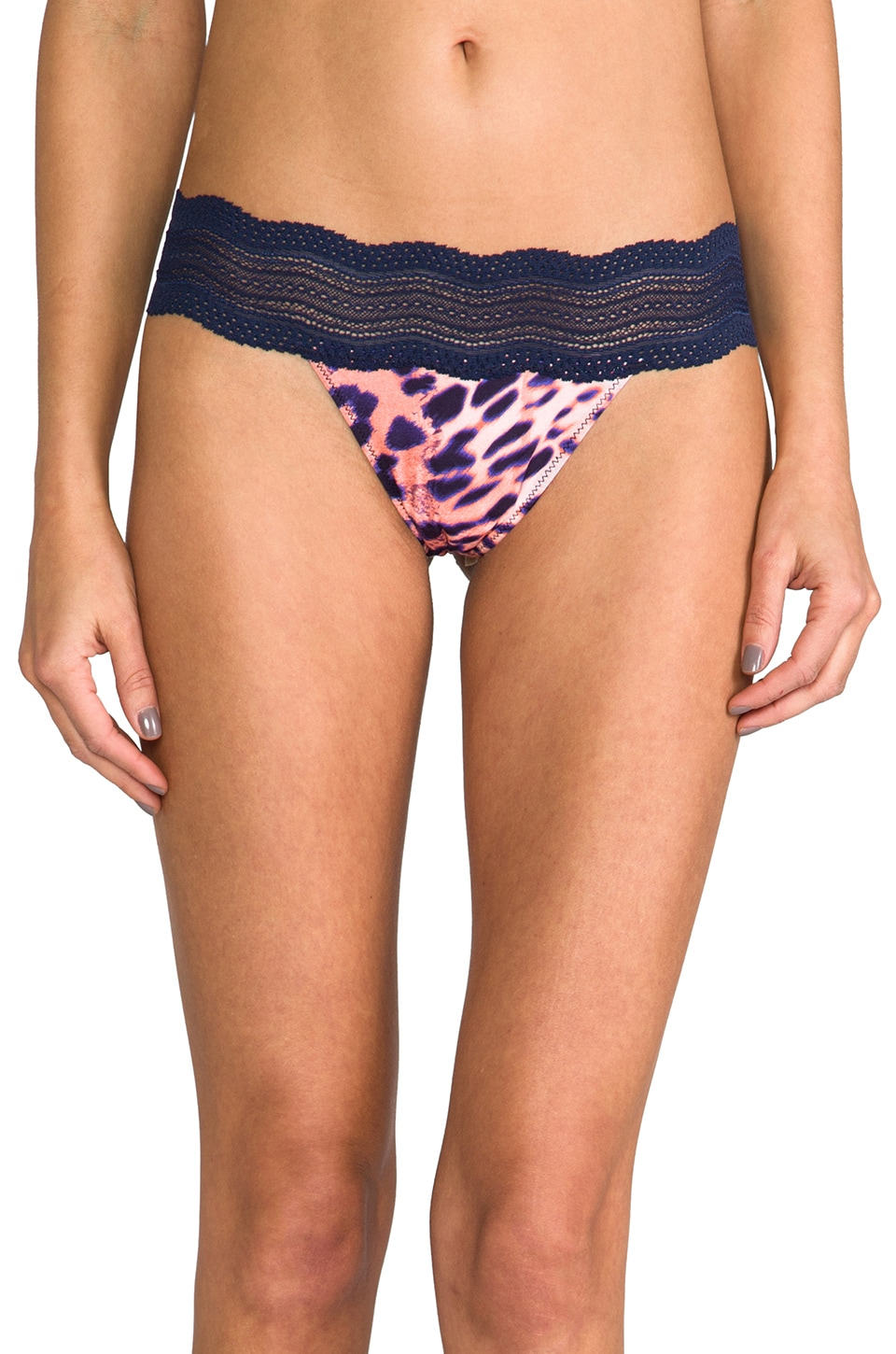 Cosabella Dolce Printed Thong in Bellini & Navy