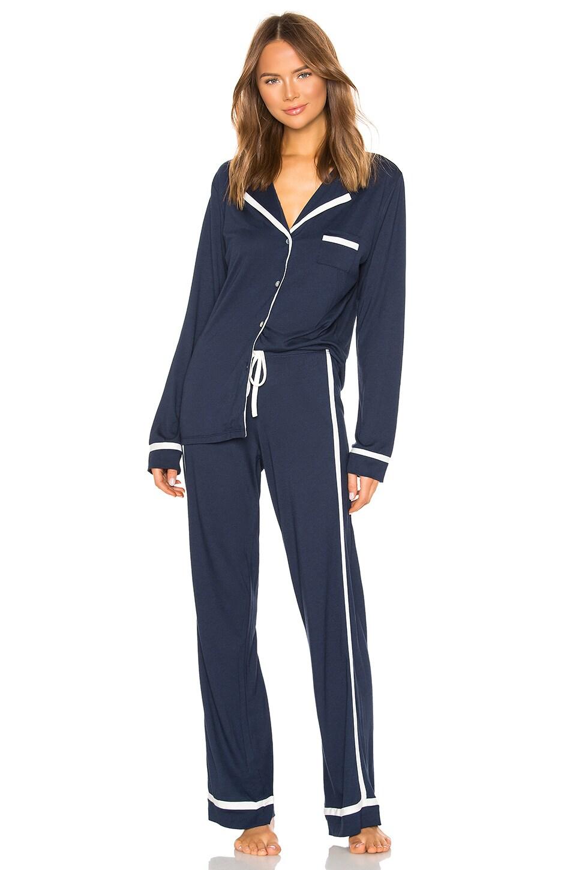 Cosabella Bella Long Sleeve Top & Pant PJ Set in Navy Blue & Moon Ivory