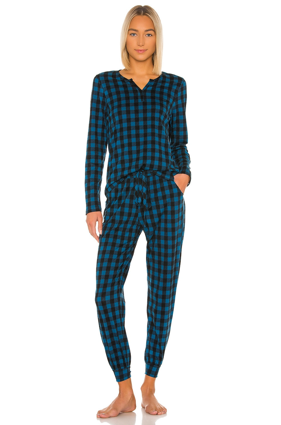 Cosabella Ski Trip Long Sleeve Top & Jogger PJ Set in Celestial Plaid & Black