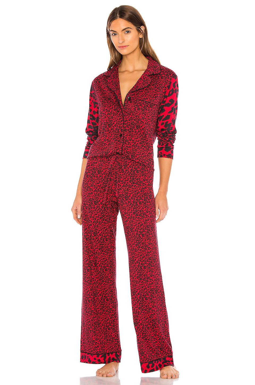 Cosabella Bella Long Sleeve Top & Pant PJ Set in Mystic Red Mixed Animal & Black