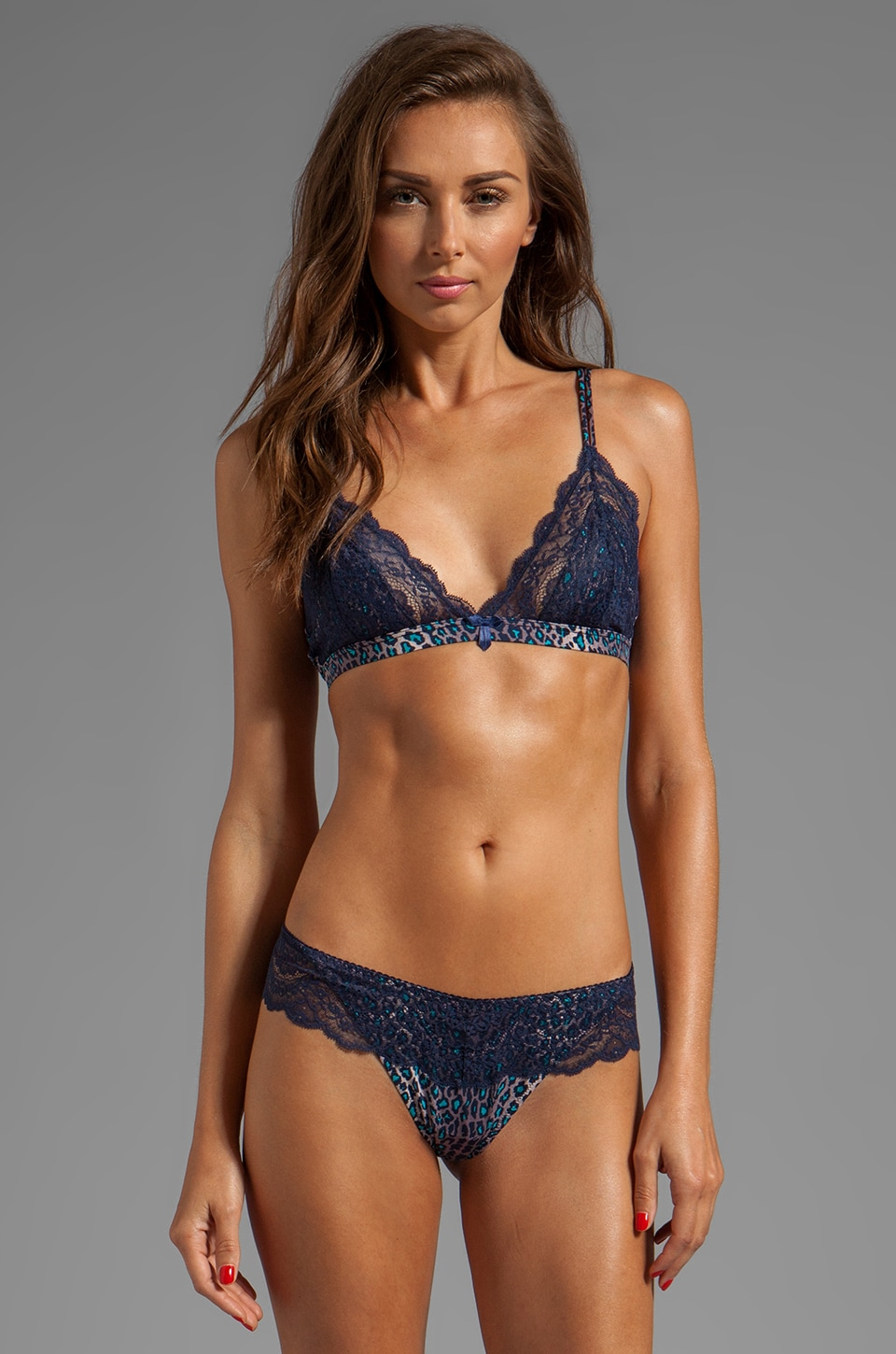 Cosabella Kitty Soft Triangle Bra in Navy/Blue Rock